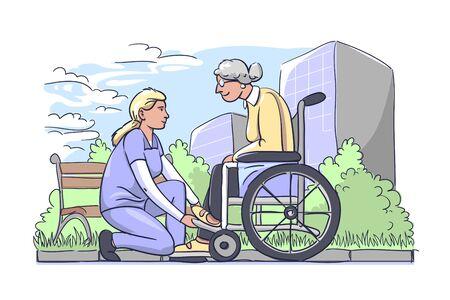 Woman helping older ones