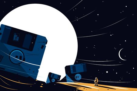 Diskette on space background vector illustration. Big floppy disks, moon, stars, night sky and cosmonaut in spacesuit flat style concept. Cosmic design