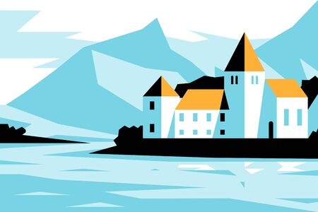Castle near lake shore Stock Illustratie