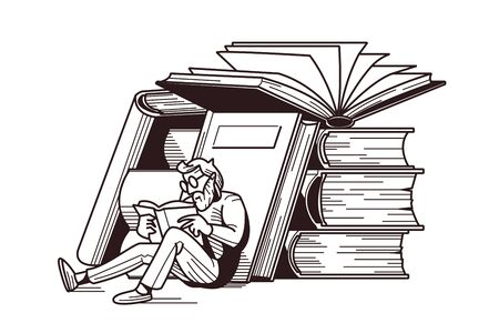 Man reading books vector illustration. Male in glasses sitting near stack of textbook flat style design in white and black colour. Intellectual hobby concept Illustration