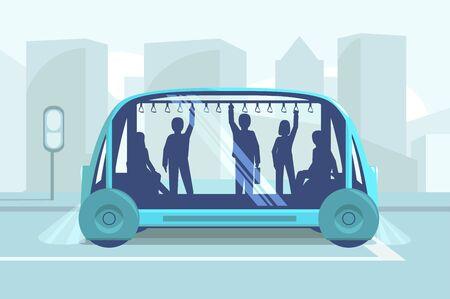 Driverless car technology vector illustration. Smart autonomous public transport. Men and women holding handrails flat style design. Modern transportation tech. City landscape on background Illustration