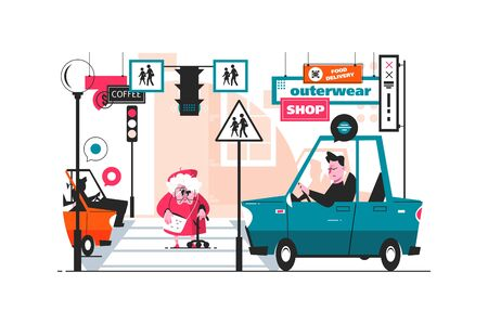 Grandmother crosses street road vector illustration. Old granny going on crosswalk, cars stopped flat style design. Compliance with traffic regulations