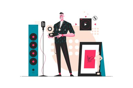 Pop stars rewards festival vector illustration. Man stands in festive hall with prize won flat style design. Art, cinema concept. Isolated on white background 向量圖像