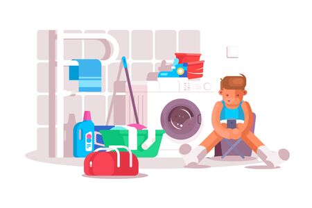 Guy in laundry room vector illustration. Boy sitting on chair, using modern smartphone and waiting until clothes washing flat style design. Washhouse interior