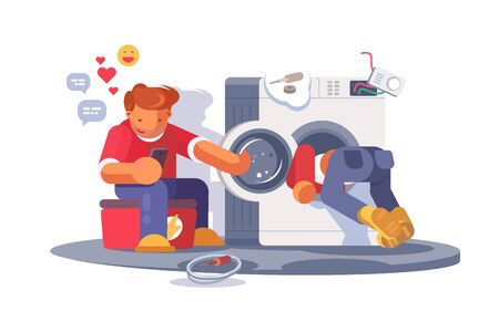 Washing machine repair vector illustration. Repairmen overhauling broke down washer flat style concept. Guy sitting on toolbox and surfing internet on smartphone
