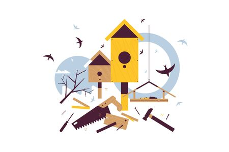 Spring starling sitting on wooden birdhouse Stock Illustratie