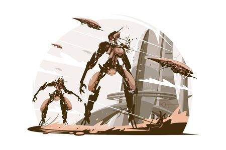 Cyborgs on battle field vector illustration. Cyborg warriors on cityscape background. Soldiers in futuristic armor flat style design. Isolated on white background
