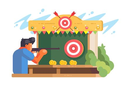 Man in shooting gallery vector illustration. Shooter with weapon. Fairground booth for recreational shooting at targets with guns or air guns. Isolated on white background Zdjęcie Seryjne - 146367050