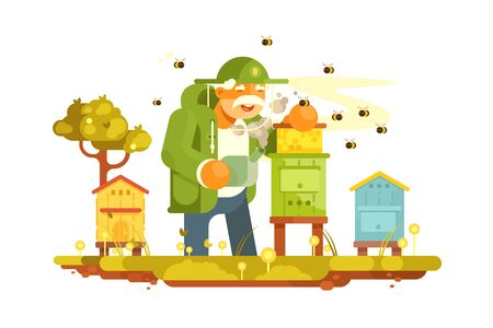 Old beekeeper in bee-garden vector illustration. Apiary in picturesque green place flat style design. Swarm of bees, hives. Beekeeping, apiculture concept