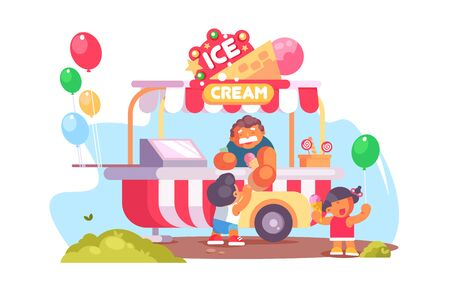 Mobile food truck and van with ice cream vector illustration. Colourful balloons and happy kids flat style. Fun in city park. Dessert delivery concept. Isolated on white background