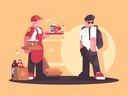 Seller of fastfood in uniform Zdjęcie Seryjne - 146726632