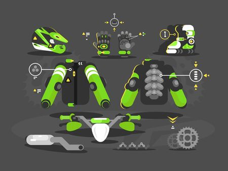 Set of protective equipment and accessories for moto cross. illustration Zdjęcie Seryjne - 146575706