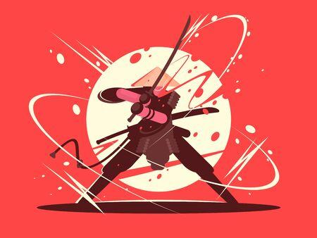 Japanese battle samurai with katana. National martial arts. illustration