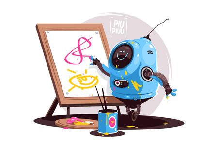 Robot learning to write vector illustration. Futuristic bot writing and painting on white board flat style design. Newest robotic technologies concept. Isolated on white background Zdjęcie Seryjne - 146627911