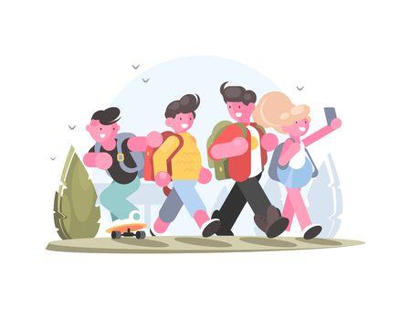 Friendly group of schoolchildren go in school to study. illustration Zdjęcie Seryjne - 146801519