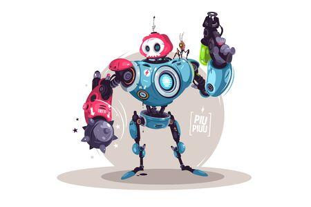 Modern robot with weapon Zdjęcie Seryjne - 147388189
