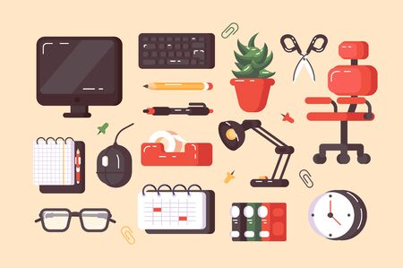 Workplace supplies set illustration. Composition consists of pc lamp notebook chair clock keyboard calendar folders flat style concept. Modern equipments for work position. Isolated on beige