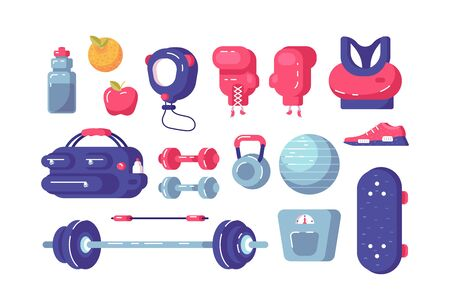 Sport equipment set illustration. Collection consists of sportswear, shoes, dumbbells, fitball, weight and boxing gloves flat style design. Healthy lifestyle concept Zdjęcie Seryjne