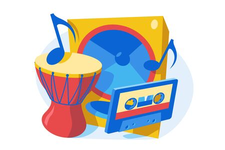 Musical instruments and device vector illustration. Drum, music column, cassette and notes flat style concept. Music concept. Isolated on white background