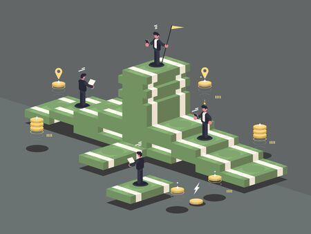 Pile of money. Businessman stands on stack of banknotes. illustration Zdjęcie Seryjne - 146901596