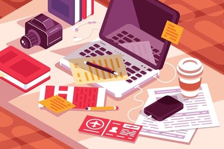 Work desk in office illustration. Workplace with laptop, modern smartphone, camera, documents, flight tickets and cup of coffee flat style concept
