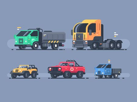 Set of types cars. SUV and cargo trailer, tanker and lorry. illustration Zdjęcie Seryjne - 147388224