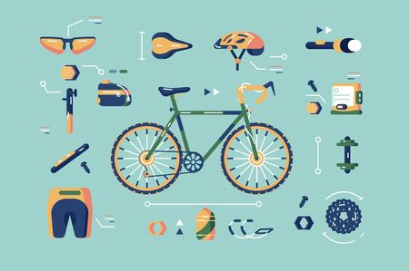 Bicycle equipment for cycling set illustration. Composition consists of bike in centre helmet sunglasses sportswear flashlight and spare parts of cycle flat concept. Isolated on blue Zdjęcie Seryjne
