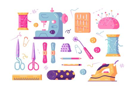 Sewing supplies set illustration. Composition consist of sewing-machine needle kit iron scissors spools of thread and other tools flat style design. Needlework concept. Isolated on white Zdjęcie Seryjne