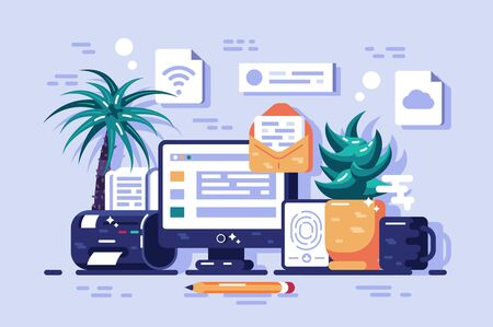Ways to getting information illustration. Receiving online news, update, info about events, activities, company and announcements flat style concept Zdjęcie Seryjne