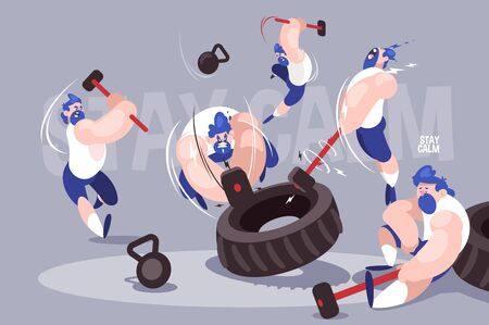 Angry dudes with sledgehammers vector illustration. Strong men hitting tires with big hammers in gym flat style design. High-intensity interval training. Crossfit concept. Stay calm inscription Ilustracja