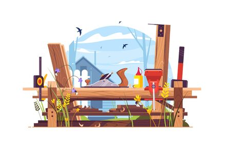 Construction works in country house vector illustration. Woodwork with jack-plane, bench vise, hammer and measuring tape flat style concept. Wooden parts of room or building Иллюстрация