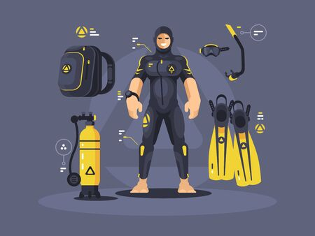 Diver in wetsuit and diving equipment, tank and flippers. illustration