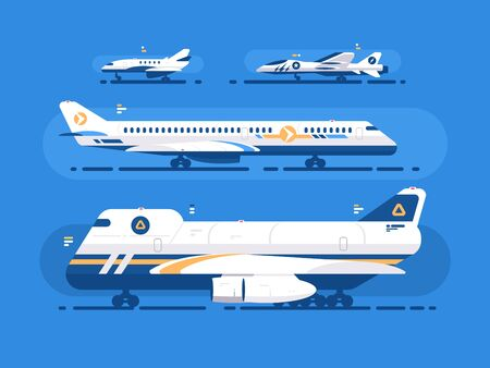 Aircraft types set. Passenger airliner, cargo and military aircraft. illustration