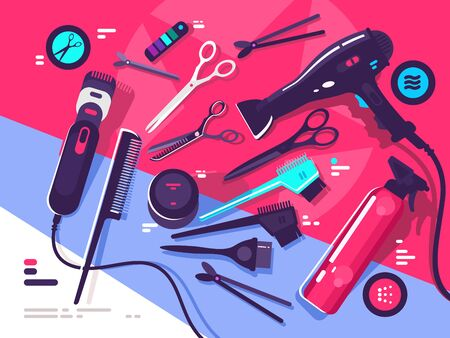 Hairdressing tools, hairbrush and hair dryer, scissors and shaving machine. illustration Zdjęcie Seryjne - 147276383