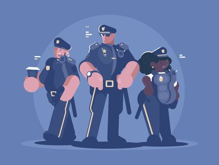 Group of police man and woman. Law, order and security. illustration