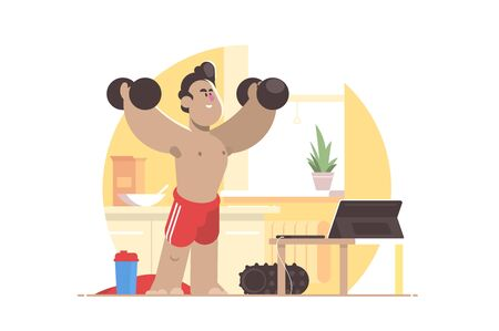 Sports workout at home vector illustration. Smiling man pumping muscles with dumbbells flat style design. Online training concept. Isolated on white background