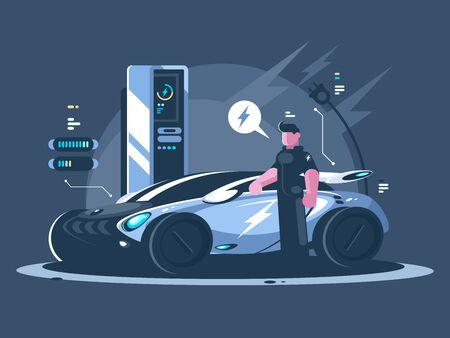 Electric car and driver near auto. New transport eco technologies. illustration Zdjęcie Seryjne - 147440489