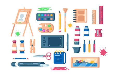 Art supplies set illustration. Composition consists of easel palette of paints tassels colour pencils sharpener and other equipment and tools flat style concept. Isolated on white