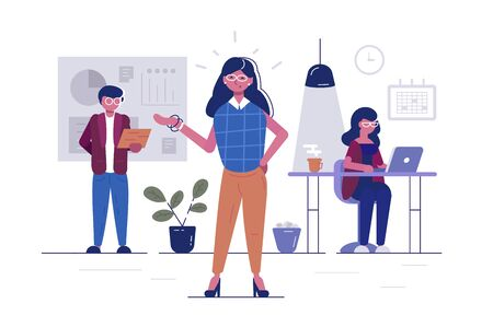 Workers in office illustration. Man and women sitting at desk, standing in cabinet, typing on computer flat concept. Business characters working in bureau. Effective and productive teamwork Zdjęcie Seryjne - 147449276