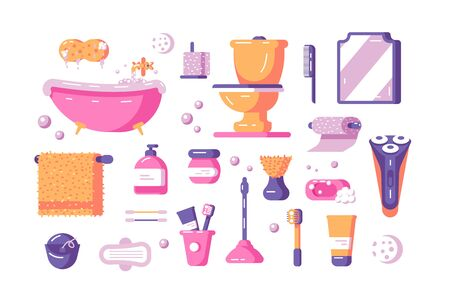 Bath accessories set illustration. Collection consists of toilette utensils and equipment such as bathtub toilet mirror towel bumf shaver and various cosmetics flat concept. Isolated on white