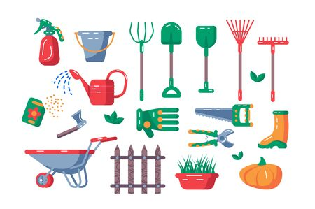 Gardening equipment set illustration. Collection consists of kaleyards tools and accessoires flat style design. Agriculture and farming concept. Isolated on white