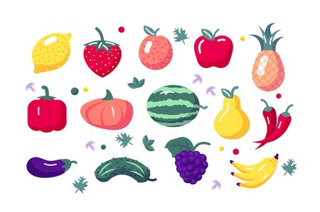 Fruits and vegetables set illustration. Composition consists of lemon apple strawberry pineapple bell pepper cucumber bananas and watermelon symbols flat style concept. Isolated on white Zdjęcie Seryjne - 147452617