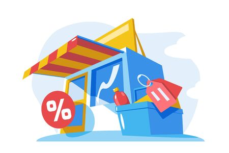 Small store building vector illustration. Modern shop with awning and shop sign. Percent and tags icons. Discount sell-out concept. Isolated on white background Ilustracja