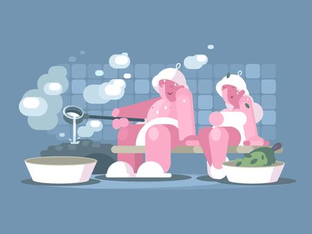 Man and woman relaxing in sauna. Healthy lifestyle illustration Zdjęcie Seryjne