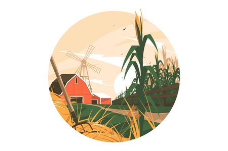 Farm in village vector illustration. Homestead with windmill, farmhouse, cornfield and haystack flat style concept. Rural countryside in spring or summer. Isolated on white background
