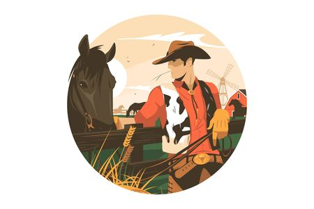 Cowboy with horse vector illustration. Cowpuncher and hoss in countryside farm flat style concept. Windmill and farmhouse on background. Isolated on white