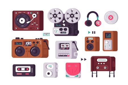 Music players set illustration. Collection consist of vintage and present-day record-player from retro gramophone to modern analogues flat style concept. Isolated on white