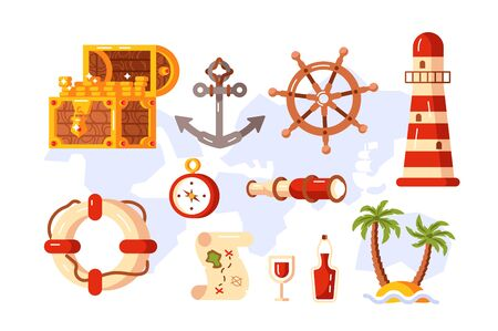Adventure symbols set illustration. Treasure chest anchor lighthouse compass map spyglass lifebuoy bottle of rum palm tree and steering wheel signs flat style concept Zdjęcie Seryjne
