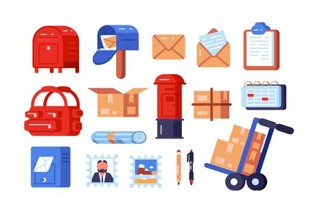 Post office symbols set illustration. Composition consists of different postboxes envelopes parcel boxes and stamps flat style concept. Isolated on white