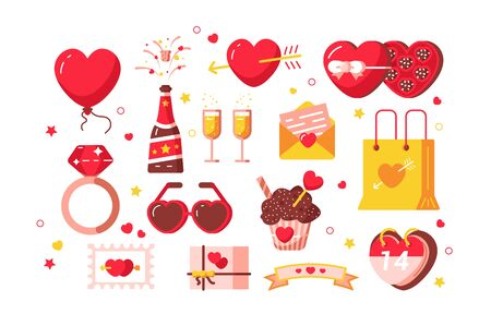 About love set illustration. Hearts, present box, chocolate candy with ribbon bows and diamond ring symbols of february romantic holiday or wedding flat style design. Valentines Day concept Zdjęcie Seryjne